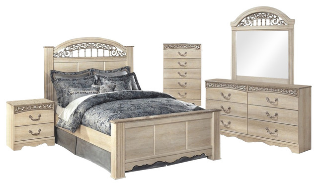 Ashley Catalina 5-Piece Queen Poster Bedroom Set With Chest, Ivory