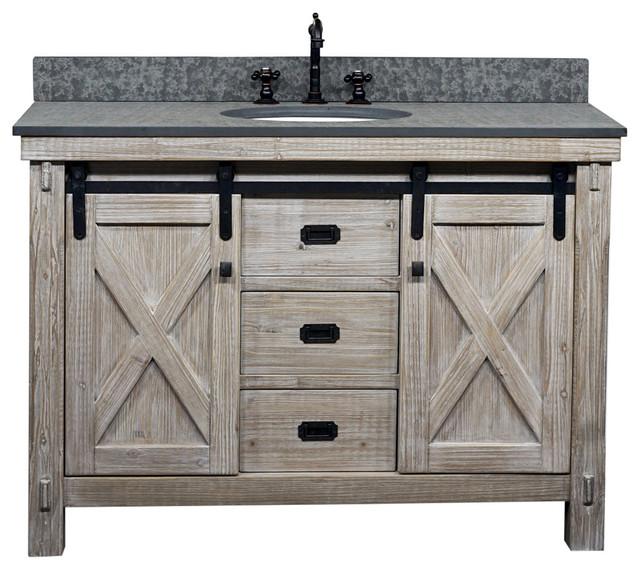 49 Rustic Solid Fir Barn Door Style Single Sink Vanity Arctic