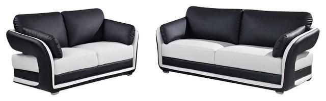 Ua189 White Black Bonded Leather Three Piece Sofa Set
