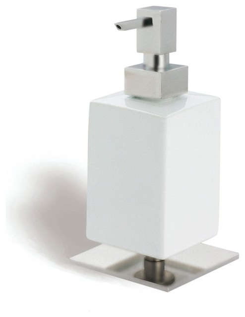 Shop Houzz Nameeks Square White Ceramic Soap Dispenser