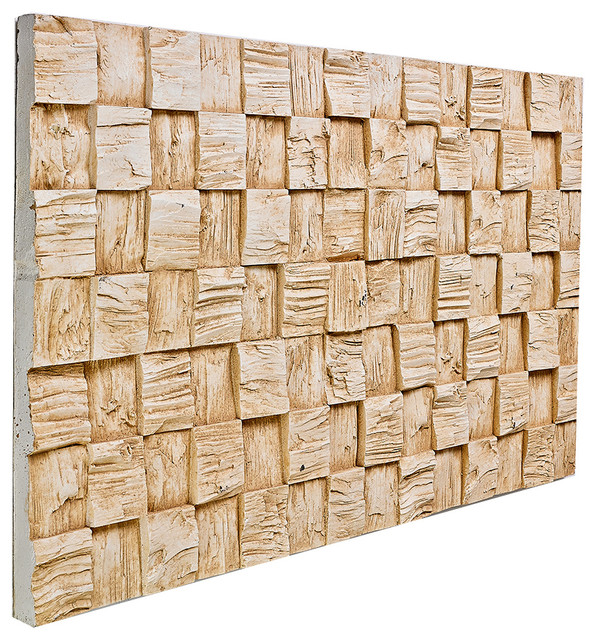 Wooden High Low Wall Panel Almond