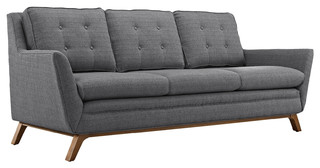 Beguile Upholstered Fabric Sofa, Gray