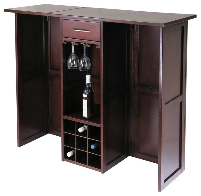 winsome wood newport expandable wine bar counter with glass hanger