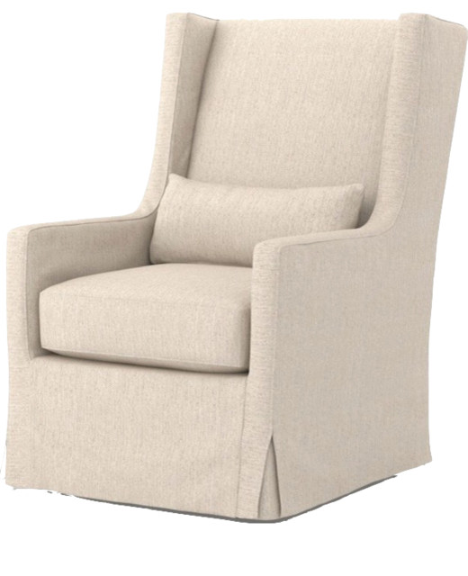 Four Hands Kensington Swivel Wing Chair, Jette Linen  Traditional Armchairs And Accent
