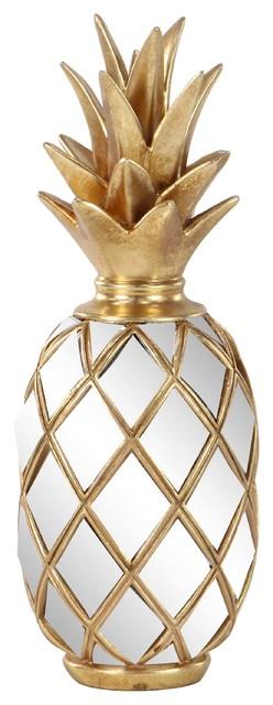 Modern Resin Pineapple Decor With Mirror Inlays