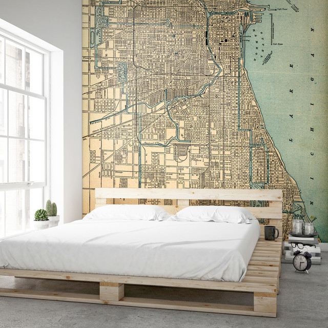Chicago, IL 1893 Antique Map Wallpaper Mural, Small