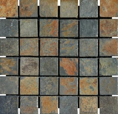 China Multi Color Tumbled Mesh Mounted Slate Mosaic Tiles 2 X Modern