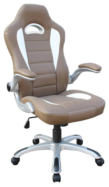 High Back Executive Sport Race Office Chair With Flip Up Arms, Camel