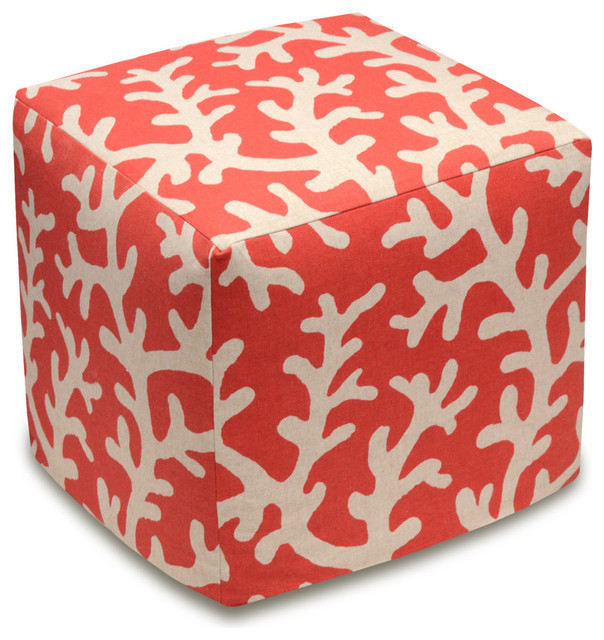 Coral Coral Red Linen Upholstered Ottoman Beach Style