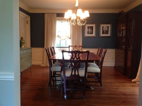 i picked up my hickory white dining table 6 chairs and china cabinet for on craigslist it included 2 leaves that expand the table to 120 and table