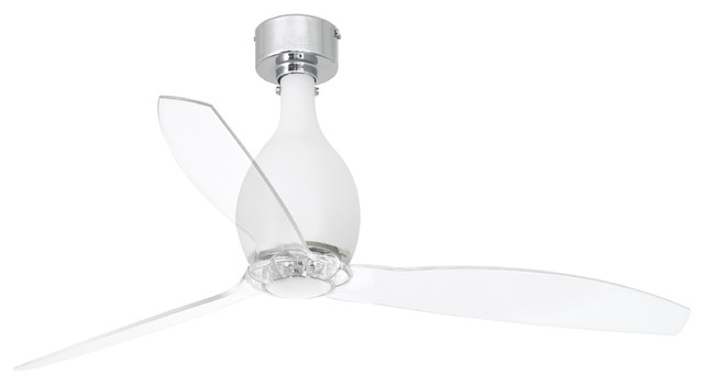 Mini Eterfan Ceiling Fan, White Matte With Transparent Blades.