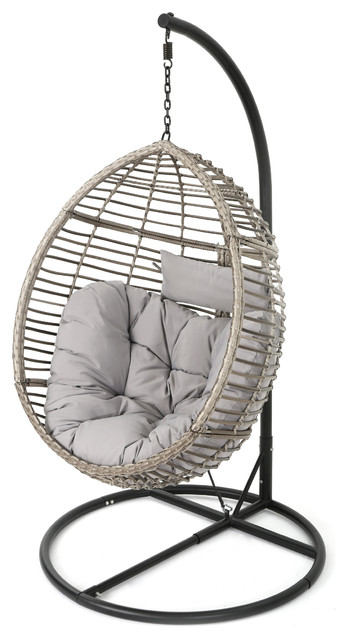 Leasa Outdoor Wicker Hanging Basket Chair Tropical