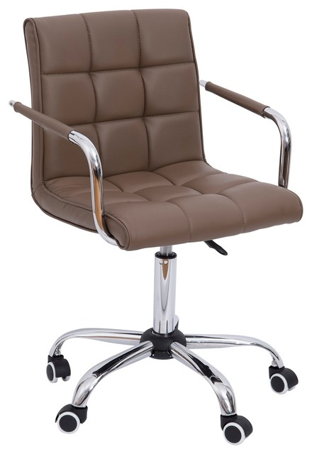 Modern Pu Leather Midback Executive Office Chair, Brown.