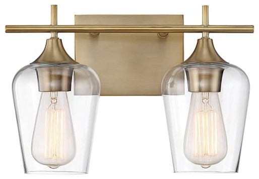 Savoy House 8-4030-2 Octave 2 Light 13-3/4 Wide Bathroom Vanity Light With Clea.
