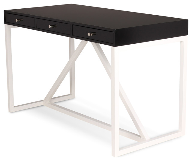 kaya 2toned wood writing desk with 3 drawers black and white