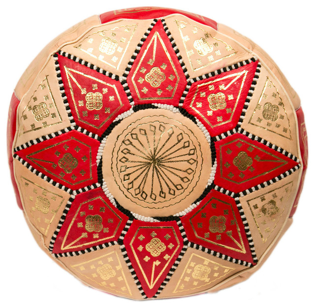 Marrakech Leather Pouf - Mediterranean - Floor Pillows And Poufs - by Casablanca Market