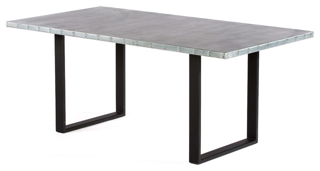 Maddox Zinc Top Dining Table Industrial Dining Tables by