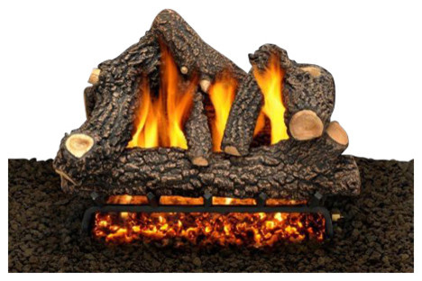 """Superior 36"""" Dv Electronic Fireplace With Red Stacked Panels, Liquid Propane"""