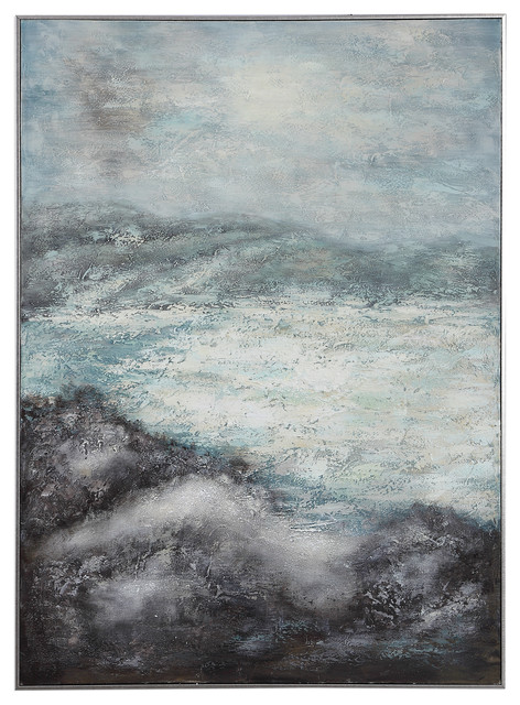 Luxe Abstract Coastal Oversize Wall Art Painting Blue White Black Gray Silver