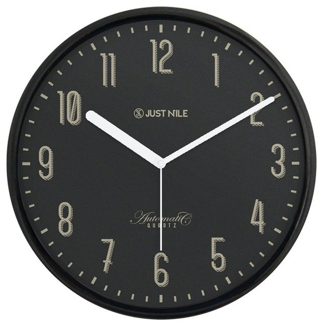 "JustNile Silent Classic Wall Clock - Black 13"" Black Frame/White Hands"