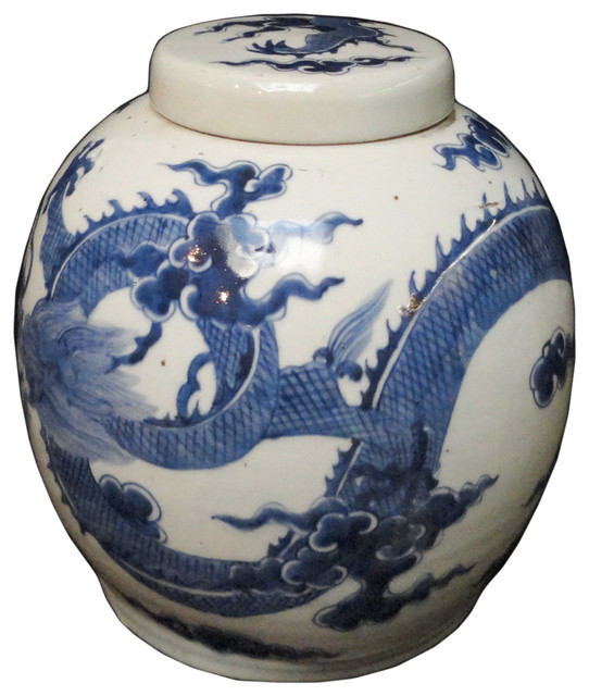 Consigned, Chinese Handmade Large Blue and White Porcelain Ginger Jar