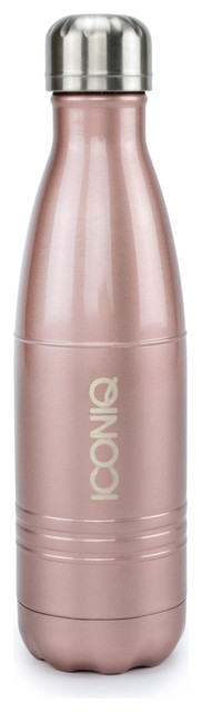 Iconiq 17oz Rose Gold Water Bottle - Stainless Steel Vacuum Insulated.