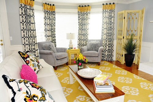 I Love Those Yellow, White And Black Curtains.