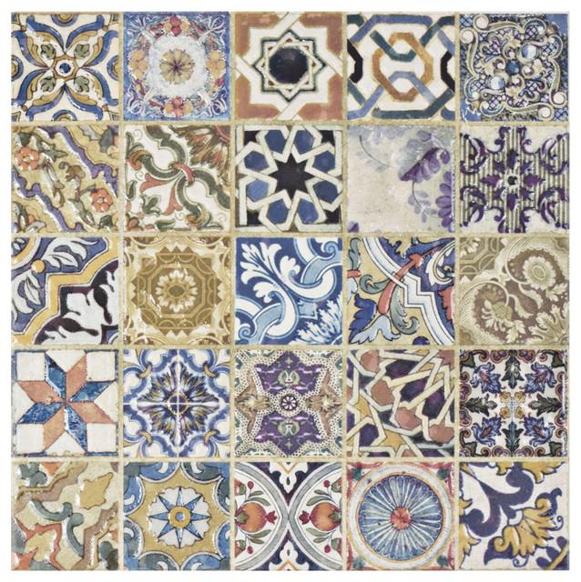 "12.5""x12.5"" Fez Ceramic Tile, Multicolor, Single Sheet."