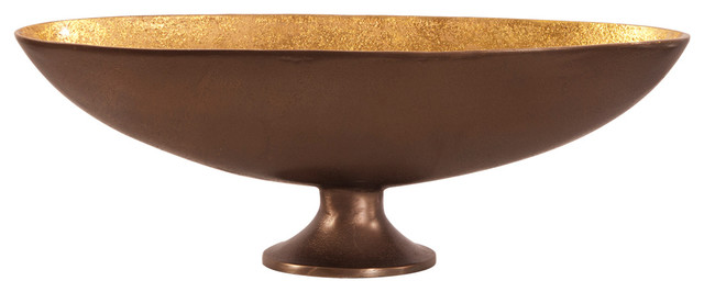 Bronze Footed Bowl with Oblong Gold Luster Inside, Small