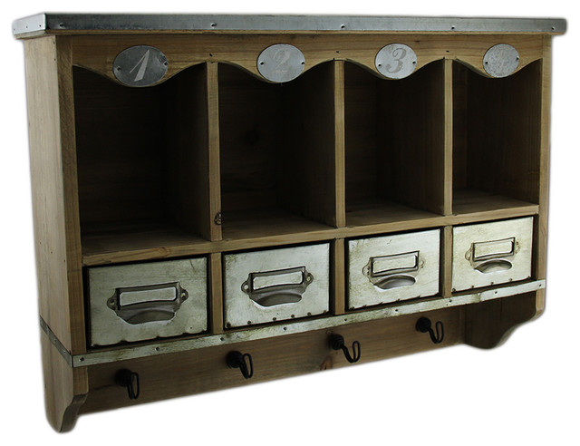 Wooden Wall Mounted Organization Center w/Metal Drawers 20 in.