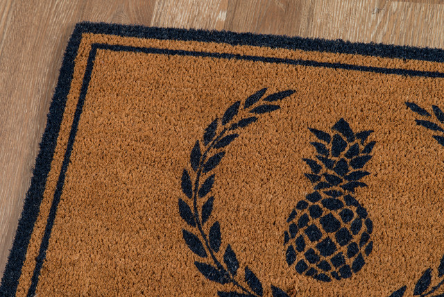 Erin Gates By Momeni Park Pineapple Navy Hand Woven Natural Coir Doormat.