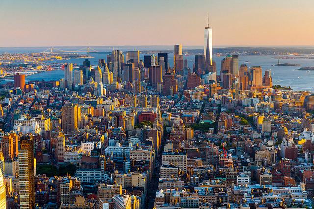 """admiring New York From Above"" Plexiglass Print, 32""x48""."