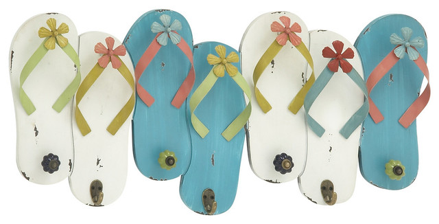 Flip Flop Wood And Metal Wall Hooks.