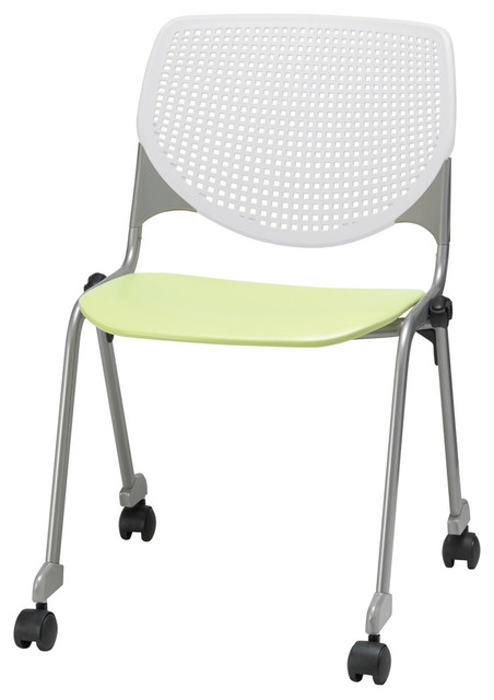 Kfi Kool Poly Stack Chair With Casters And  Perforated Back.