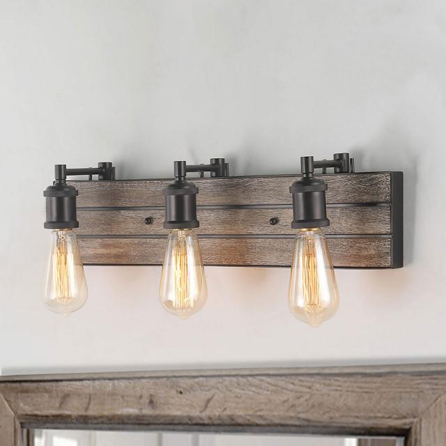 Laluz 3 Light Bathroom Lighting Fixtures Over Mirror Industrial Bathroom Vanity Lighting By Lnclighting Llc