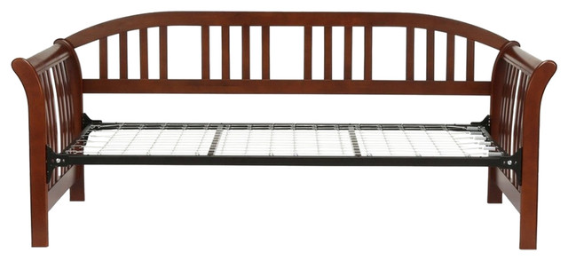 Salem Complete Daybed, Curved Back Panel, Link Spring, Mahogany, Twin.