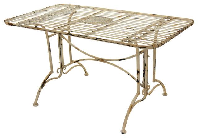 Rustic Rectangular Garden Table, Distressed White.