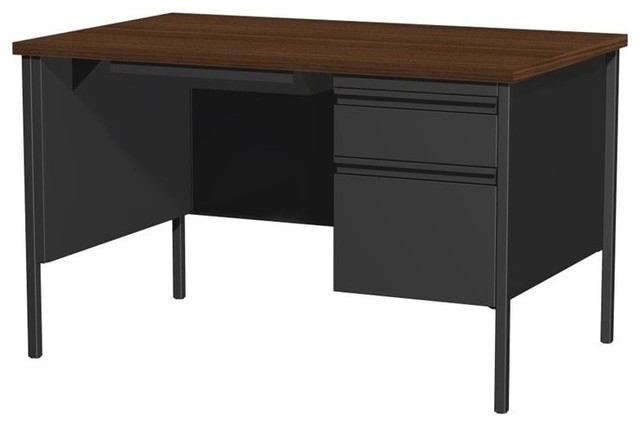 Hirsh Single Pedestal Computer Desk in Black and Walnut - Contemporary - Desks And Hutches - by ...