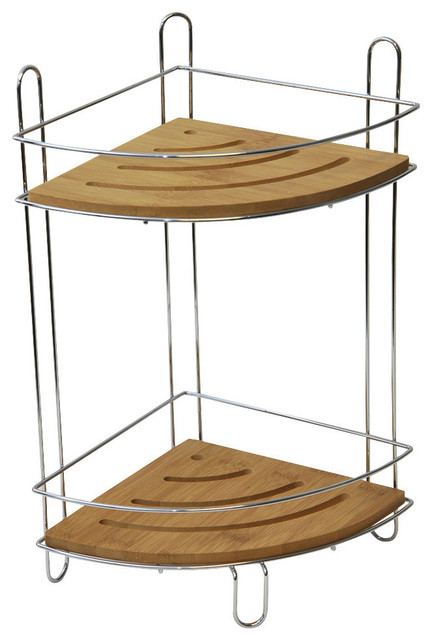 Free Standing Metal Wire Corner Shower Caddy With 2 Bamboo Shelves Color Brown