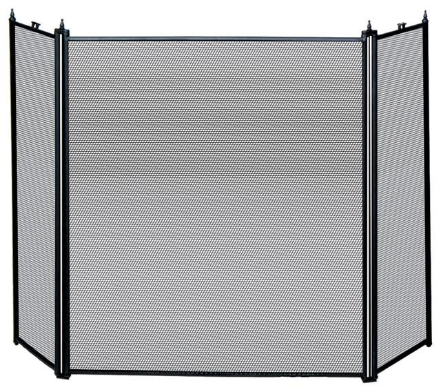 Blue rhino uniflame 3 fold black screen fireplace screens houzz - Houzz fireplace screens ...
