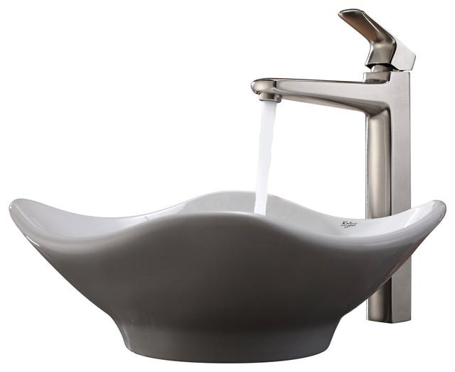 Kraus White Tulip Ceramic Sink and Virtus Faucet Brushed Nickel ...