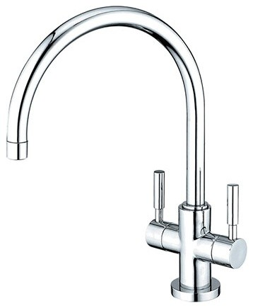 Kingston Brass Concord Double Handle Kitchen Faucet, Polished Chrome.