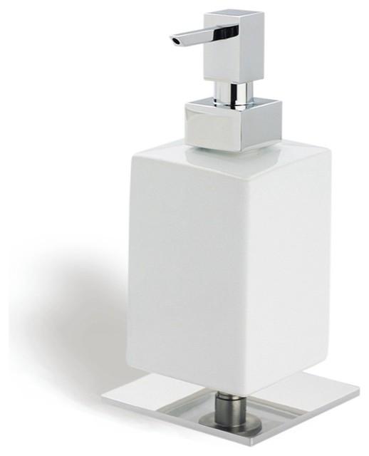 Square White Ceramic Soap Dispenser With Br Base Chrome