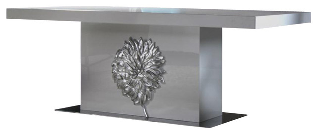 Emma White Lacquer Dining Table With Silver Floral Emblem