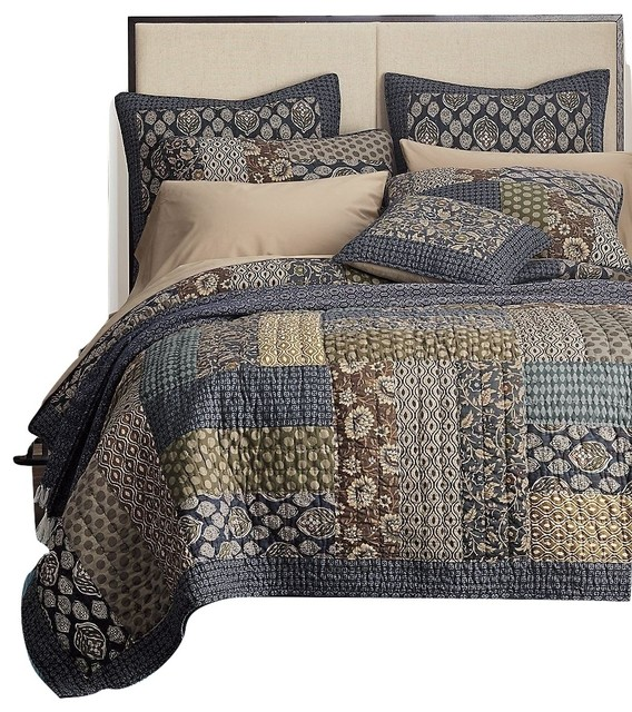 Tache Cotton Royal Chambers Patchwork Floral Quilt Set