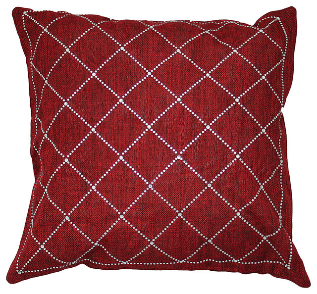 Throw Pillow With Rhinestone Criss-Cross Design - Decorative Pillows - by Sparkles Home