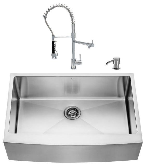 """Kitchen Sink Set: VIGO All In One 33"""" Farmhouse Stainless Steel Kitchen Sink"""