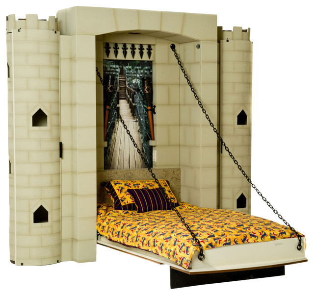 Dragonslayer Castle Theme Wall Bed, Twin eclectic-kids-beds