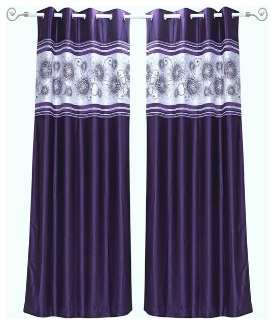 Purple Grommet Top Satin Curtain Panel With Beaded Hand Design 43wx63l Piece