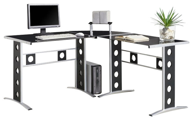 Coaster 3 Piece Computer Desk BlackSilver Contemporary Desks